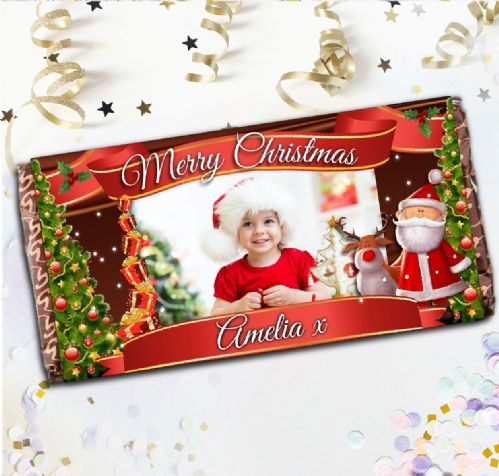 Personalised Merry Christmas Milk Chocolate Bar - Xmas Eve Stocking Filler Gift N112